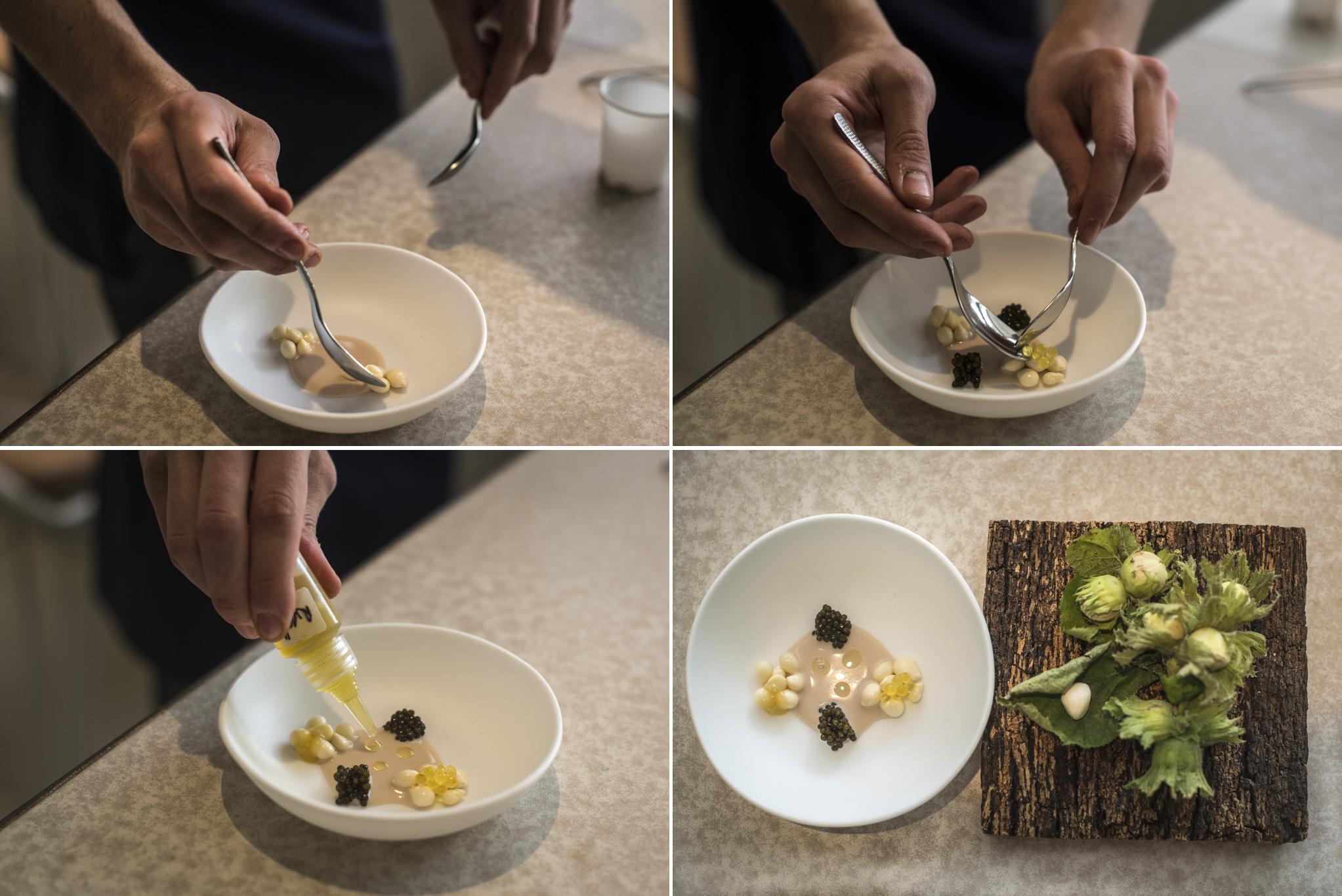 avellanas tiernas con caviar