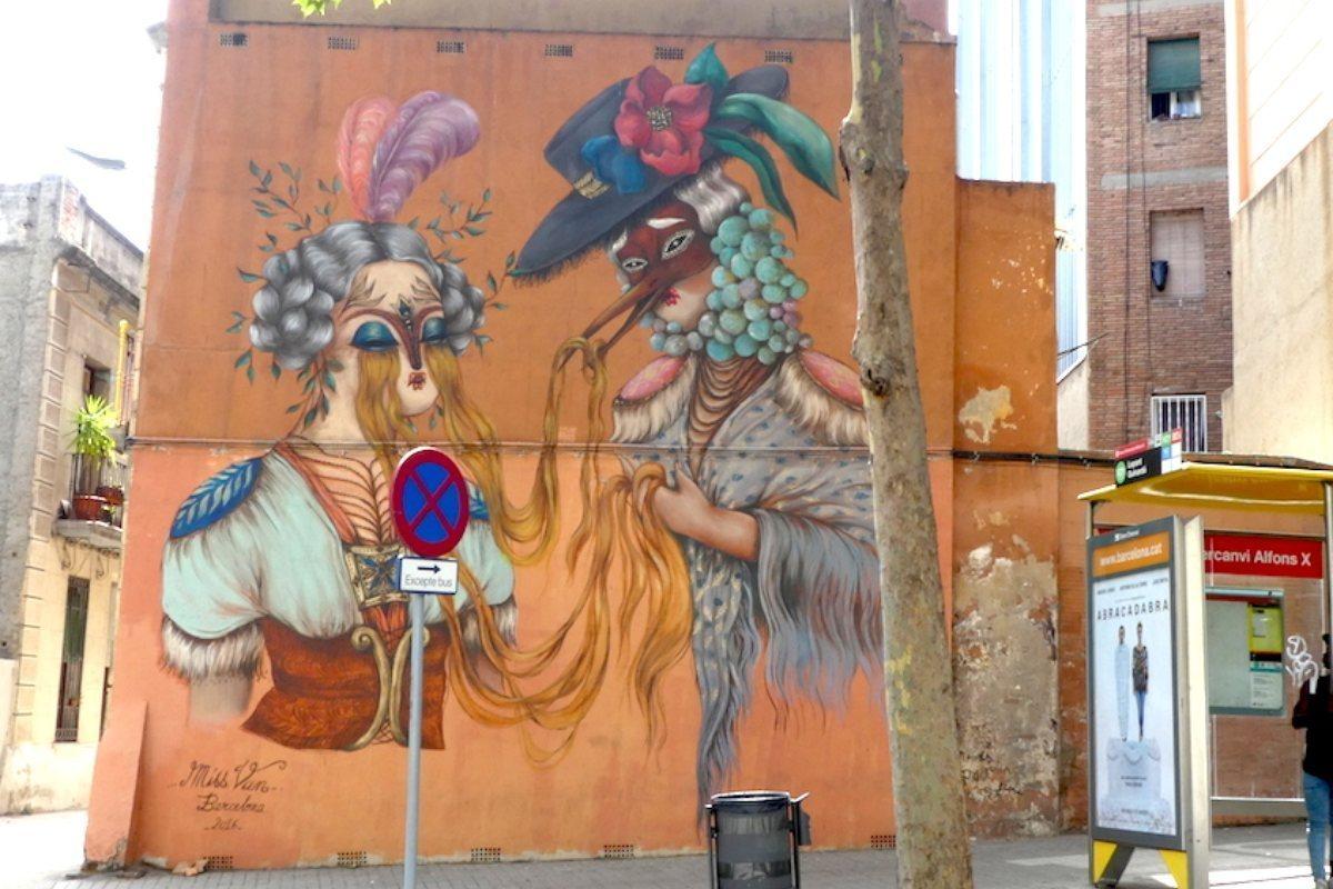 Mural de Miss Van. Graffiti Barcelona.