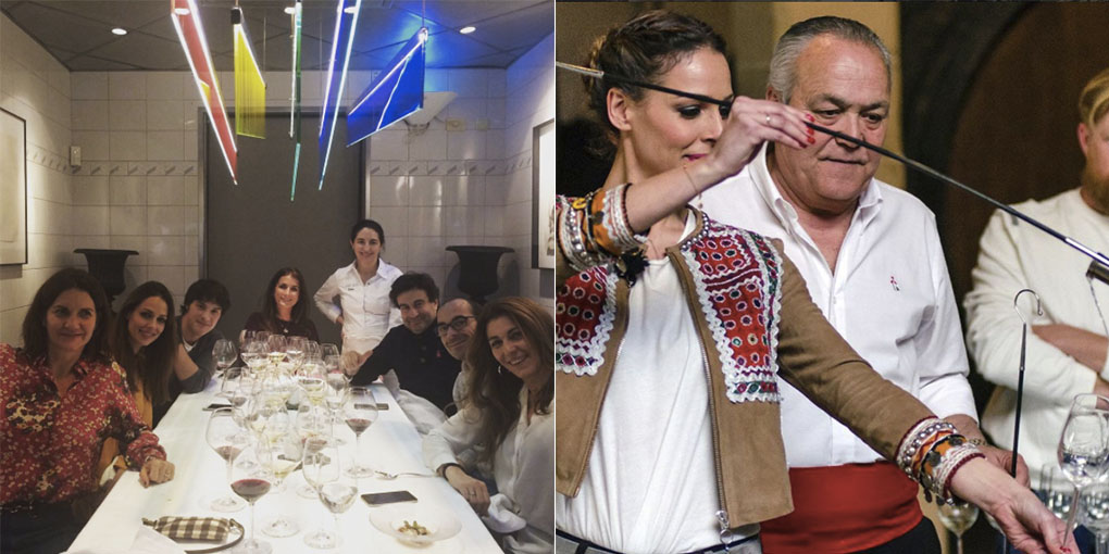 Eva González en el 'Arzak' y venenciando fino de Jeréz. Foto cedida.