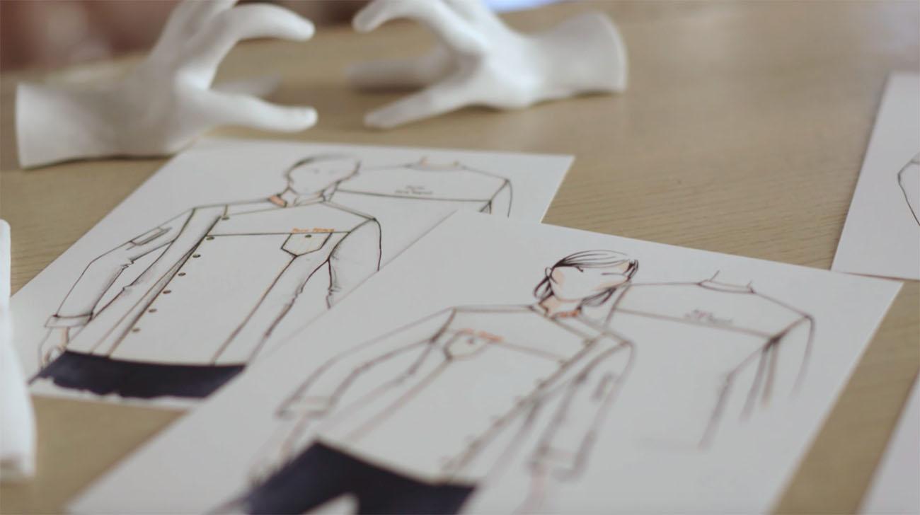 Bocetos de las chaquetillas para cocineras y cocineros