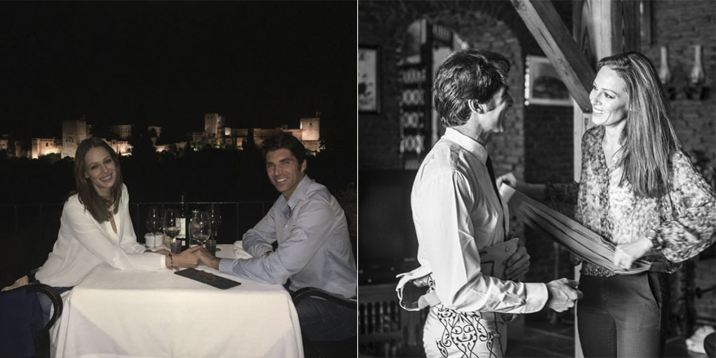 Eva González y su marido, Cayetano Rivera, frente a La Alhambra y en Ronda. Foto cedida.