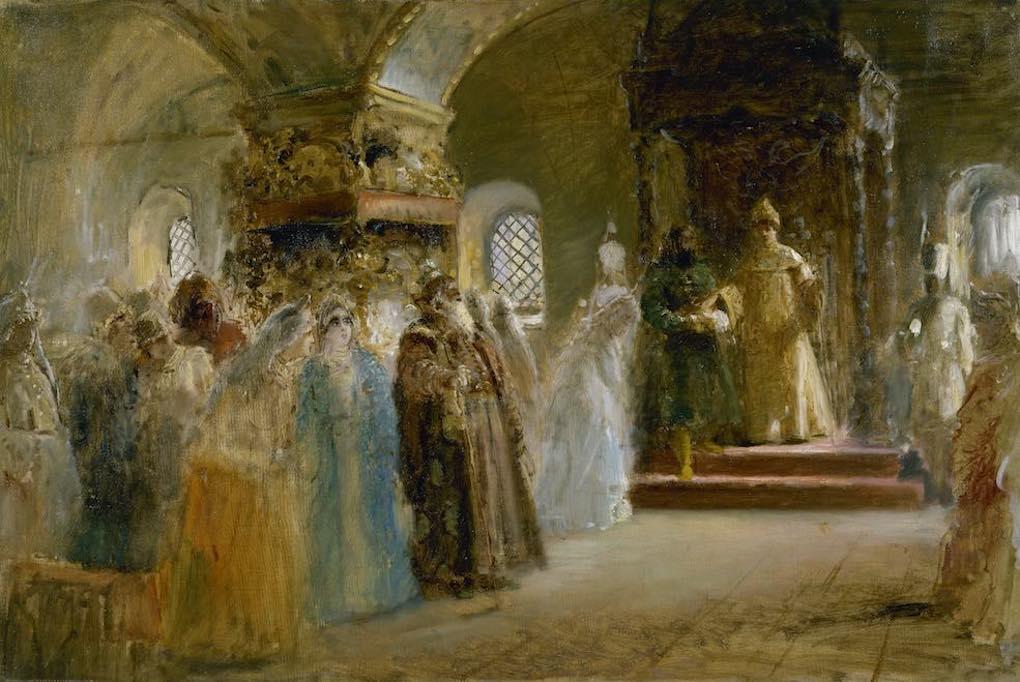 Obra La elección de la novida por el zar Alexei Mikhailovich, de Mamovsky. Foto: Museo Ruso