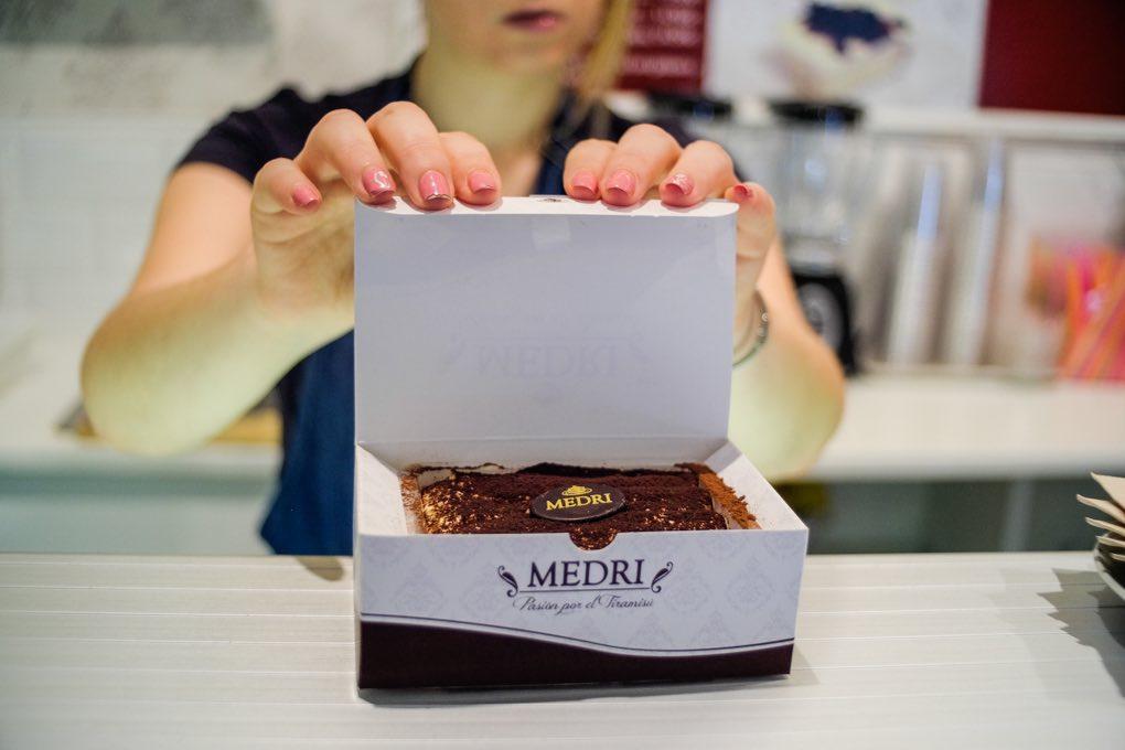 Tiramisú en packaging del Café Medri. Foto: Alfredo Cáliz