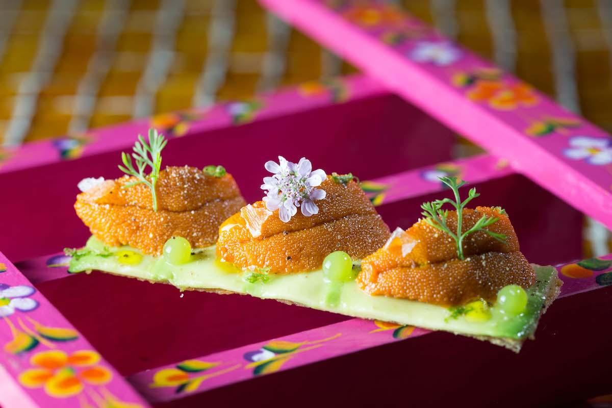 Tosta de erizos y aguacate del restaurante 'Hoja Santa': Foto: cedida
