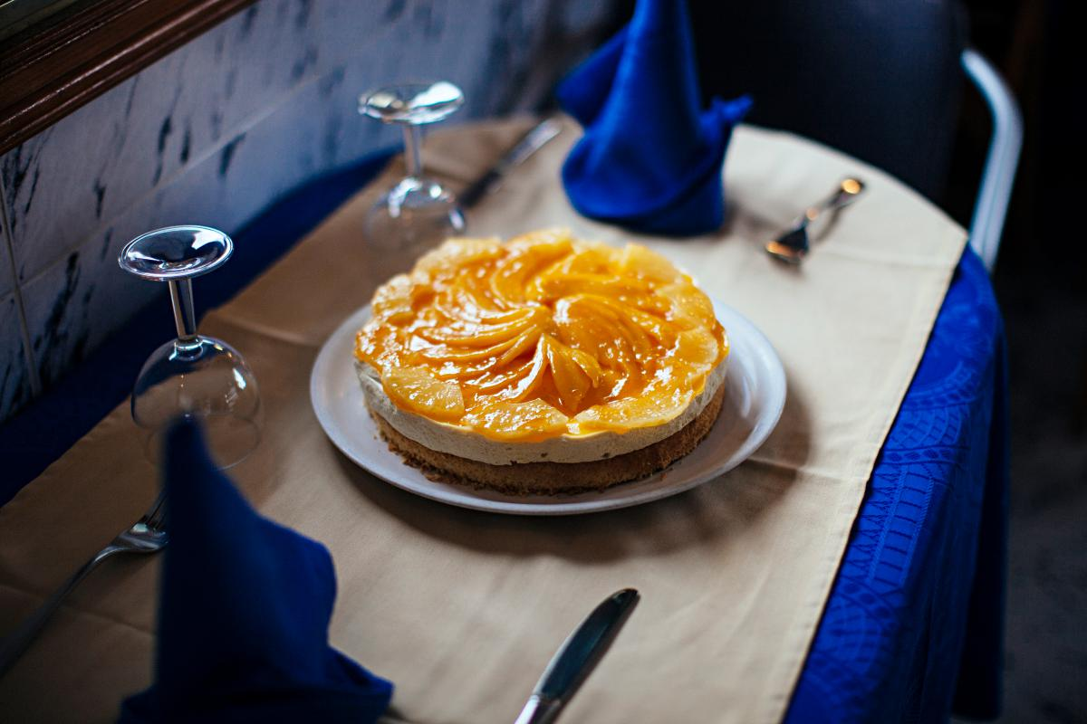 Tarta de maracuyá y mango. Irresistible.