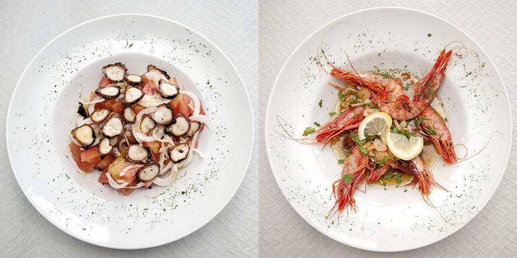 Restaurante Trinquete (Jávea) - pulpo seco y gambas - Foto: Rafa Molina