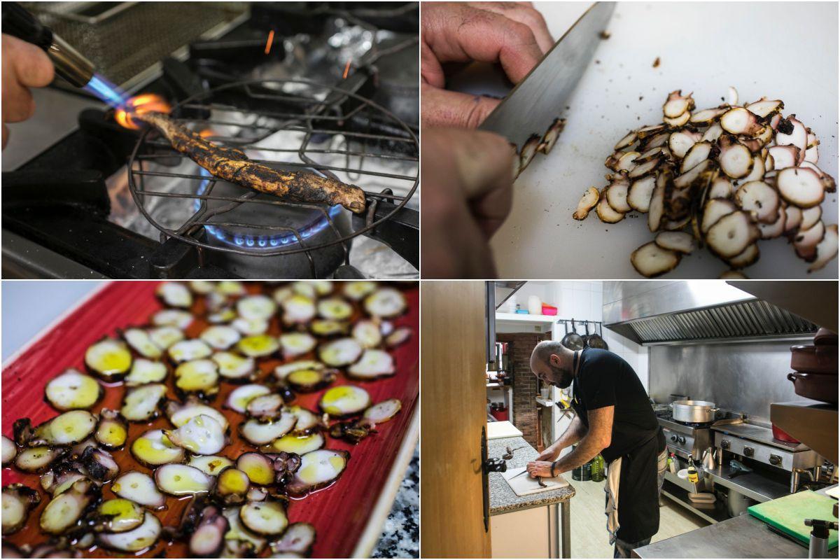 Preparando el pulpo seco en La Rebotica. Fotos: Eva Máñez