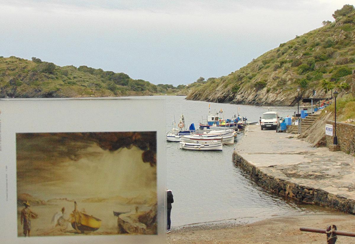 Reproducción de cuadros de Dalí en los puntos donde fueron concebidos en Cadaqués. Foto: Anna Otero