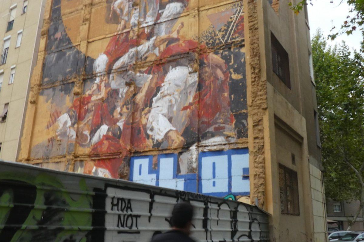 Los Castellers de la calle Fluvià. Graffiti. Barcelona.