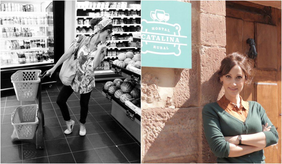 Ana Morgade de compras y en su personaje de Cata en 'Olmos y Robles'. Foto: @ana_morgade_oficial (Instagram)