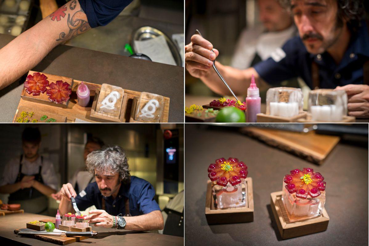 El logo de Red Hot Chilli Peppers llevado del tatuaje a la mesa. Foto: Sofía Moro