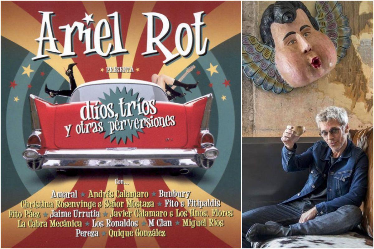 El disco de Ariel Rot y un retrato suyo. Fotos: Facebook
