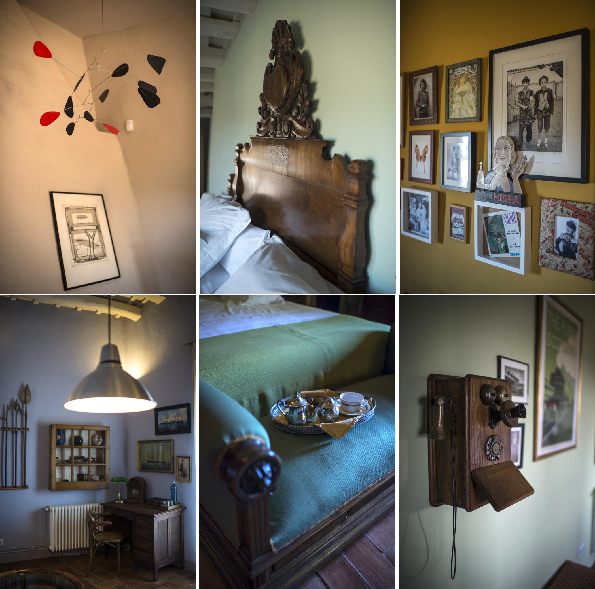 detalles de las habitaciones: un teléfono de pared de madera, fotos antiguas.