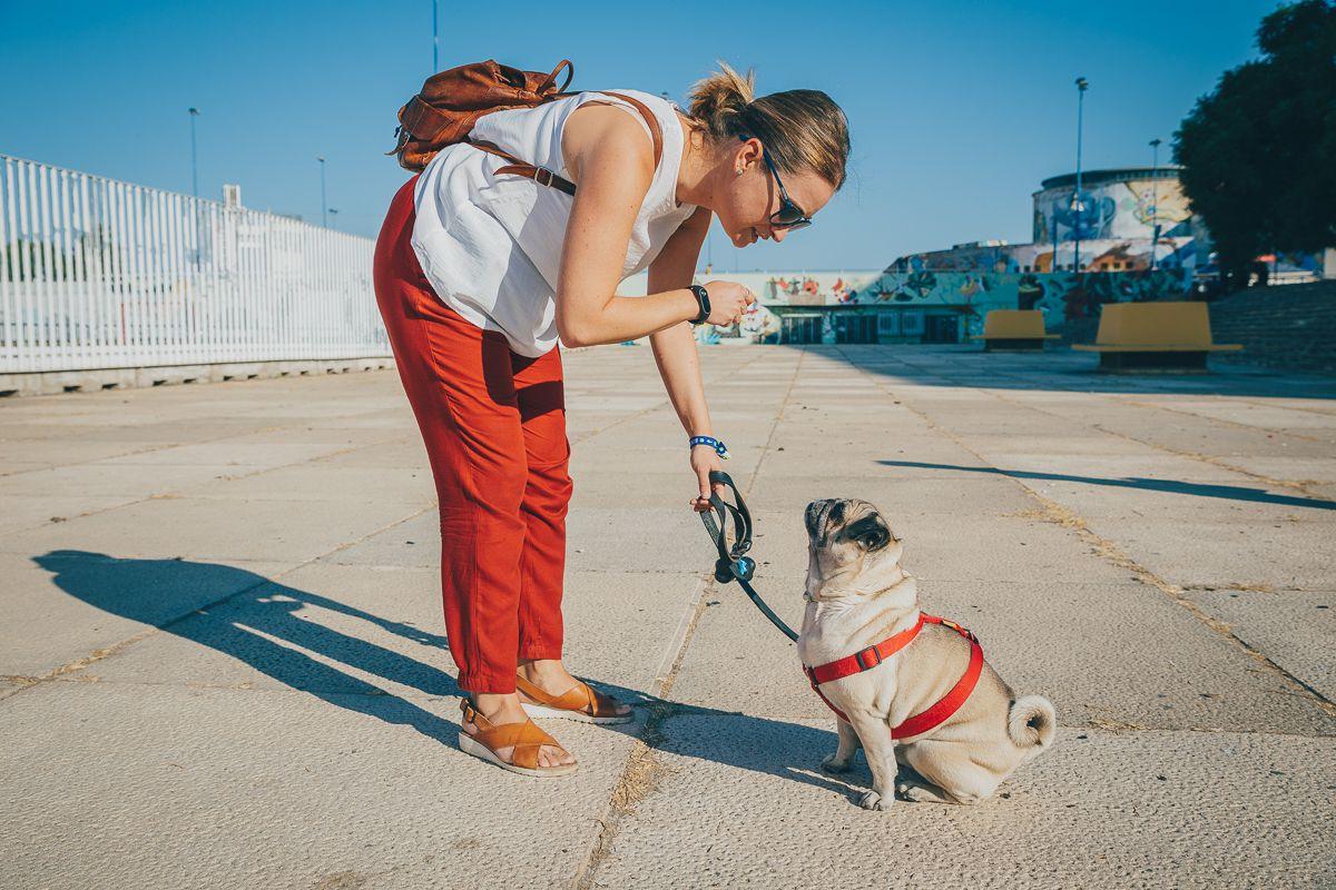 Una de las participantes en la ruta Obediencia Urbana y su perro. Foto: Javier Sierra