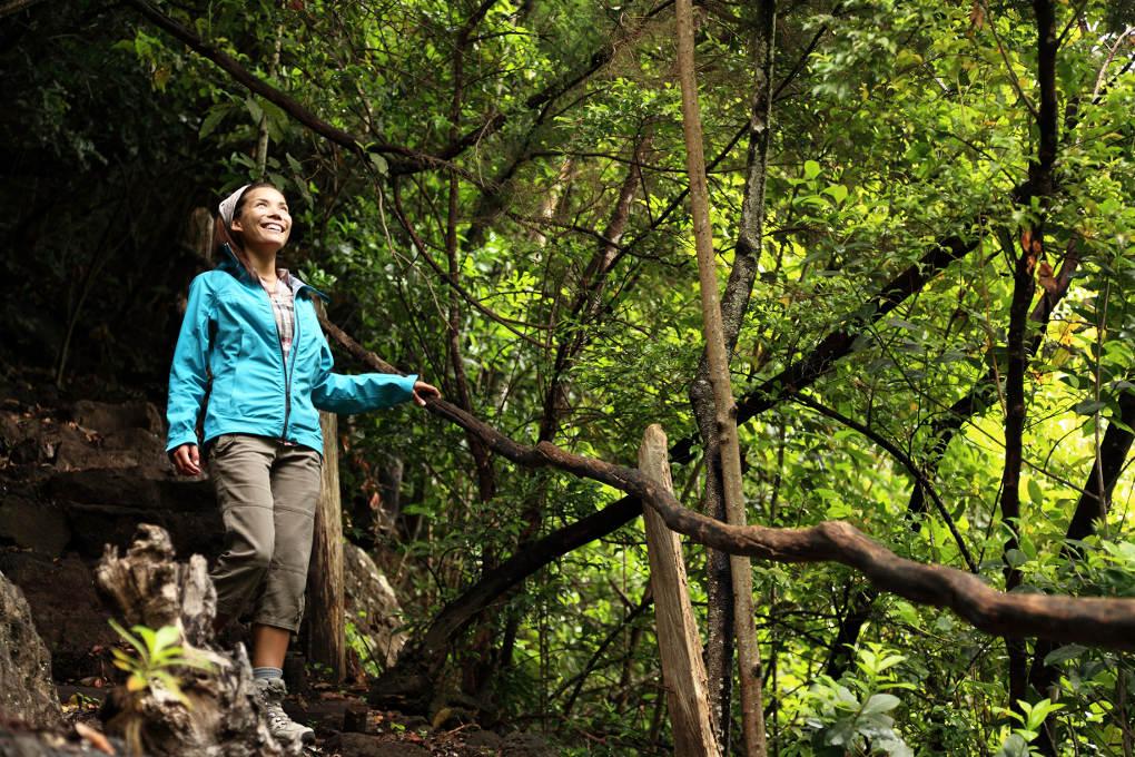 Mujer paseando por el Bosque de los Tilos