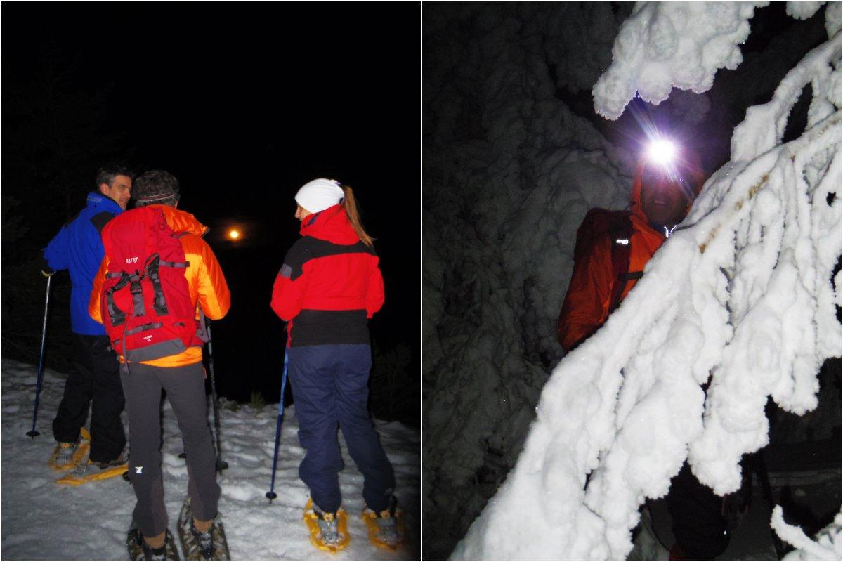 Observando la salida de la luna en el Macizo de Peñalara y los pinos congelados durante la ruta nocturna. Foto: Nuria Hijano