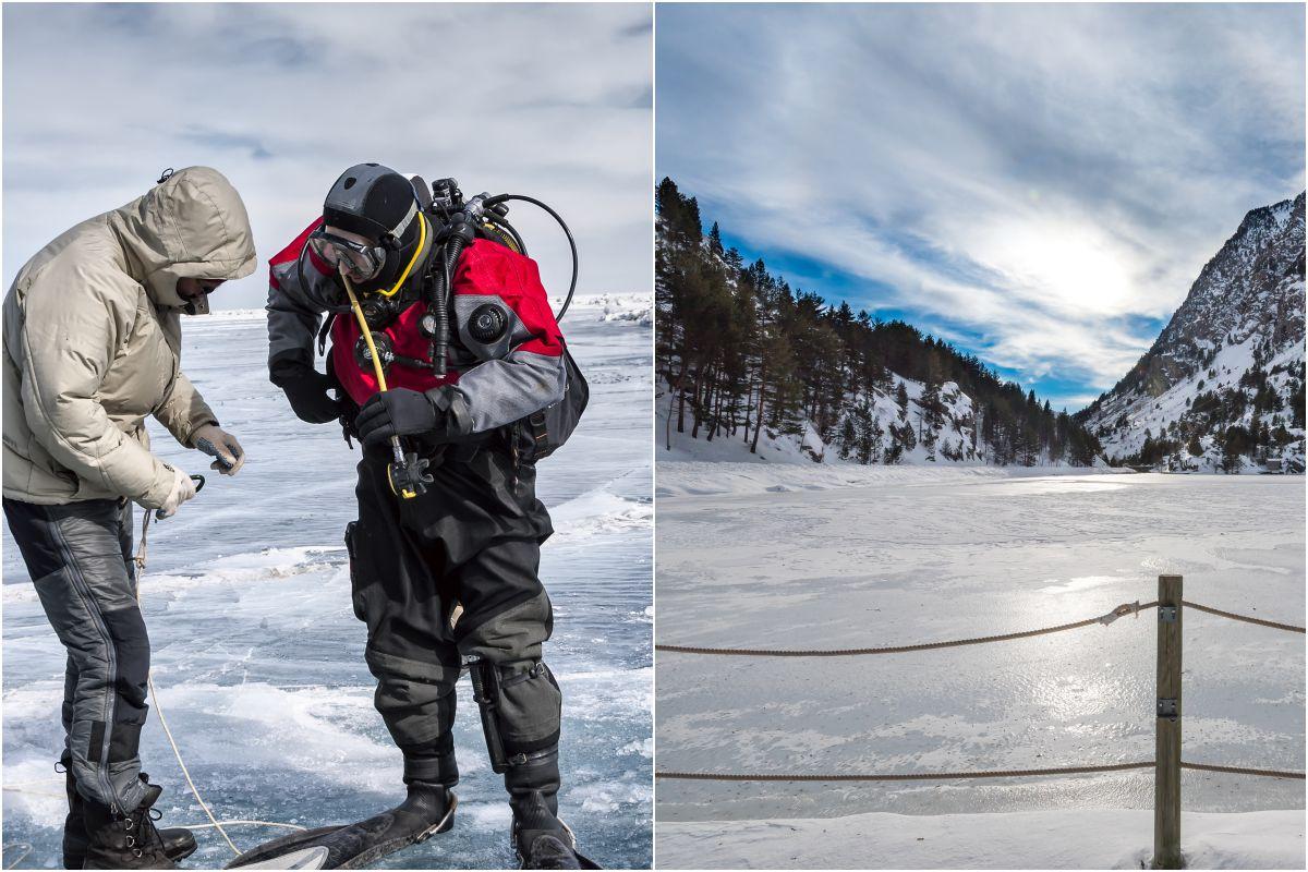 Los buceadores en el lago helado de Panticosa. Fotos: Shutterstock