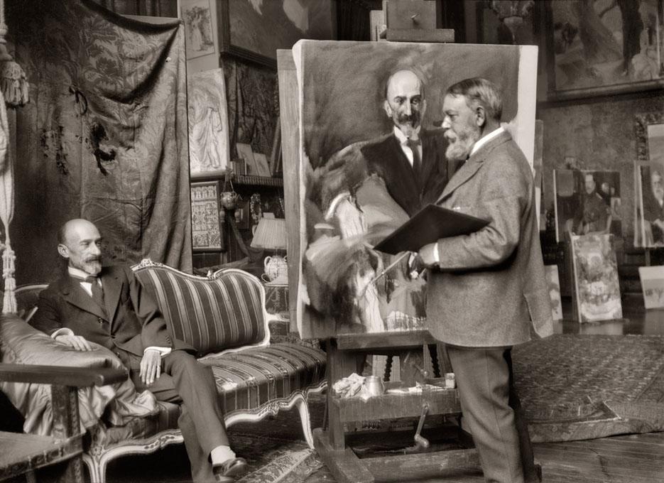 Sorrola pintando retrato de Jacinto Benavente