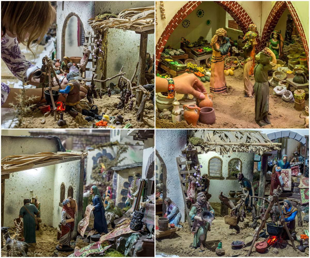 Belén Jerez de los Caballeros (Badajoz). Collage escenas del belén: pastores, oficios y mercados. Foto: Alfredo Cáliz