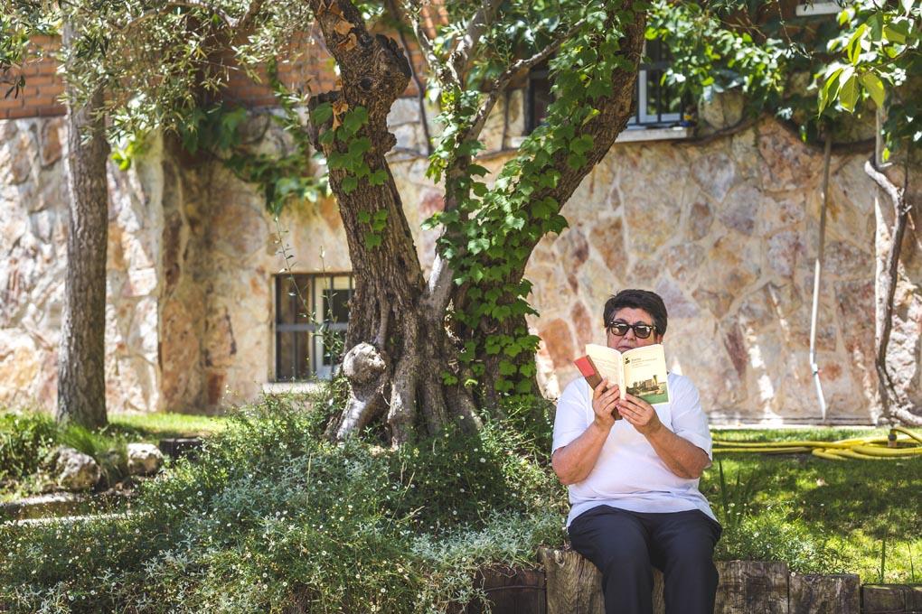 Libros bajo un olivo