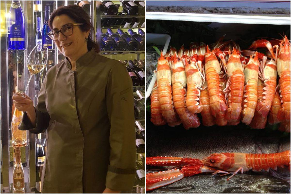 Marisol Domínguez en el D'Berto, y el marisco del restaurante. Foto: D'Berto