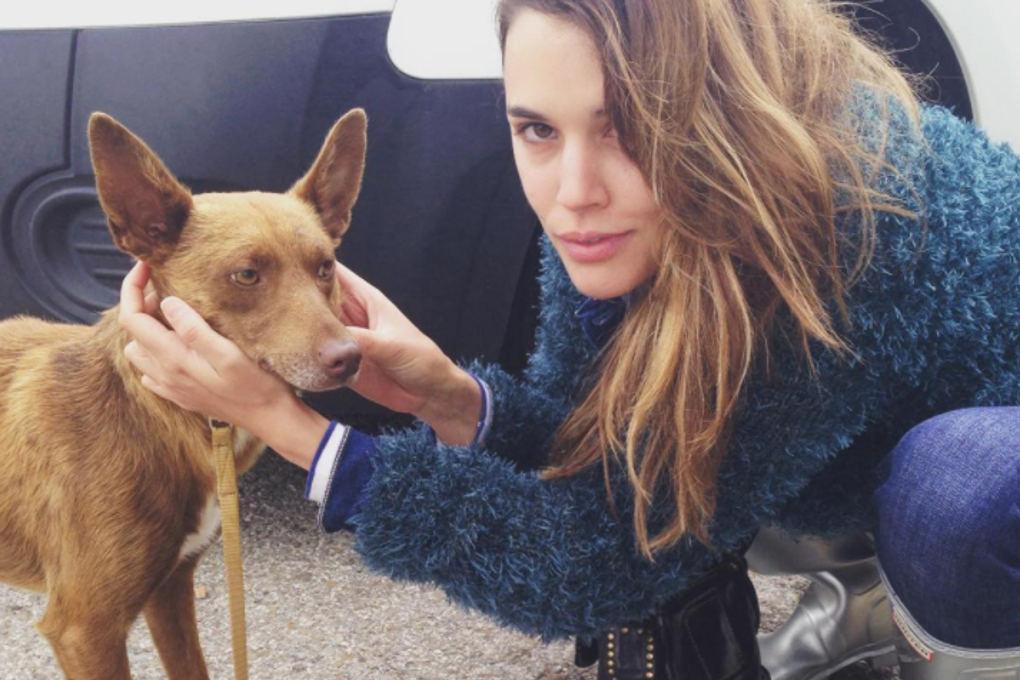 Adriana Ugarte con Chocolate, un perro abandonado