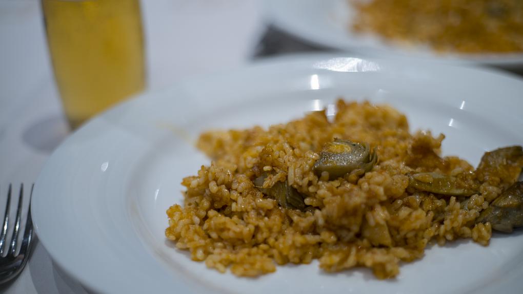 Plato de paella en el restaurante Balmes