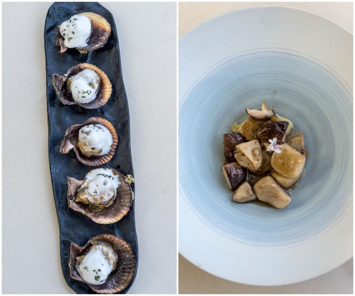 Zamburiñas y plato de berenjena con setas del restaurante. Foto: Alfredo Cáliz