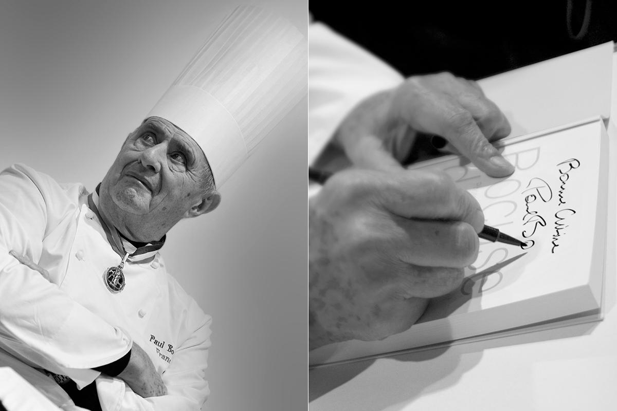 Retrato de Paul Bocuse y el chef firmando. Fotos: Shutterstock