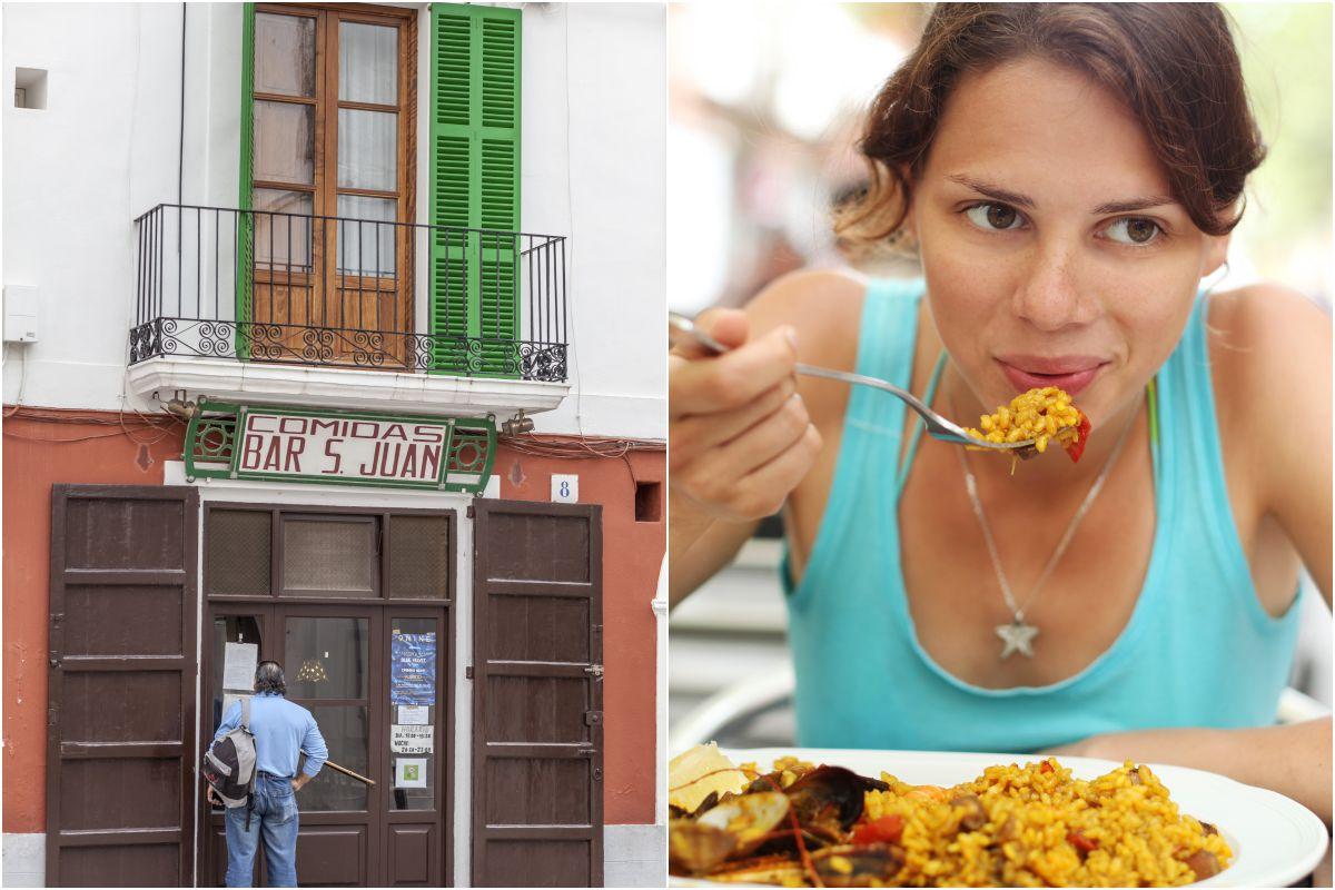 El bar San Juan y uno de sus platos estrella, la paella. Fotos: Shutterstock