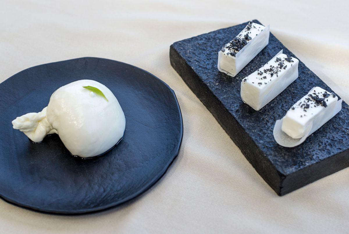 Mozarella y mantequilla de cabra caseras, del restaurante Etxebarri. Foto: Alfredo Cáliz