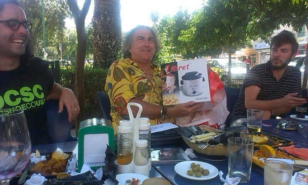 Con el maestro chirigotero Selu, en Cádiz. Foto: Antílopez