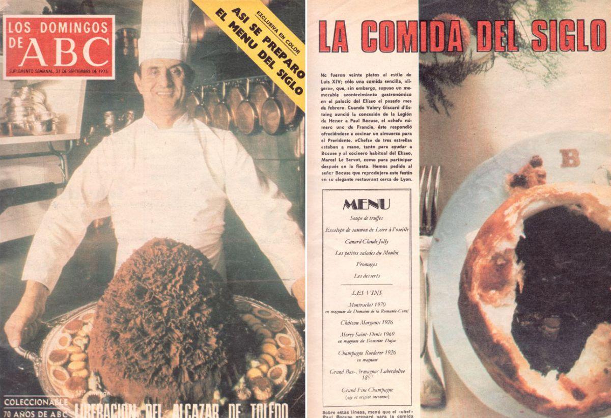 College portada de 'ABC' sobre Paul Bocuse y la apertura del artículo 'La comida del siglo'.