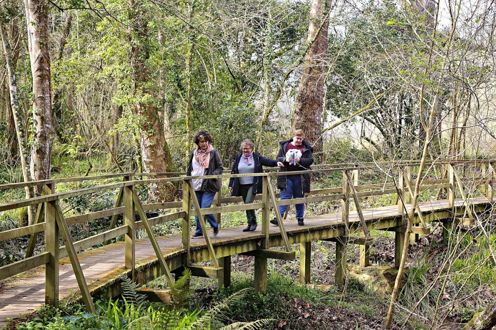 Las pasarelas de madera permiten salvar taludes y cruzar el río de lado a lado