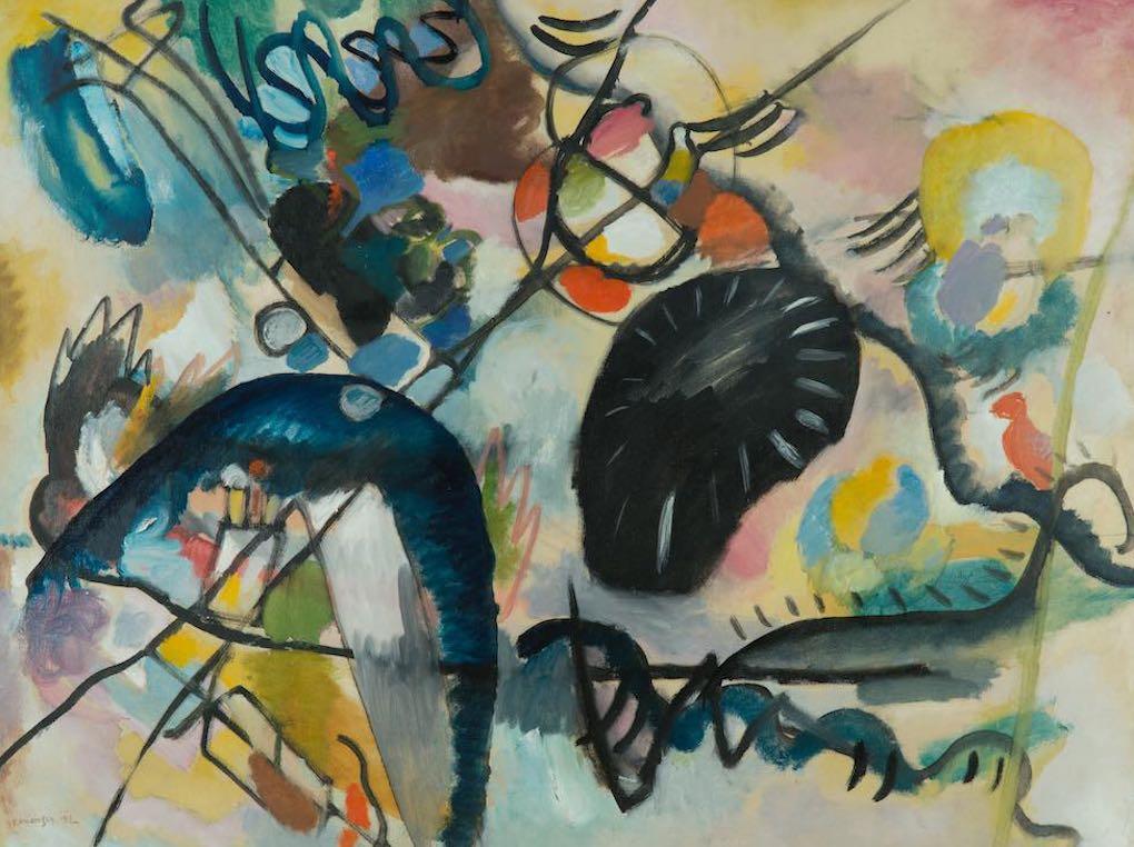 La obra Punto Negro de Vassily Kandinsky (1912. Óleo sobre lienzo): Foto: Colección del Museo Ruso