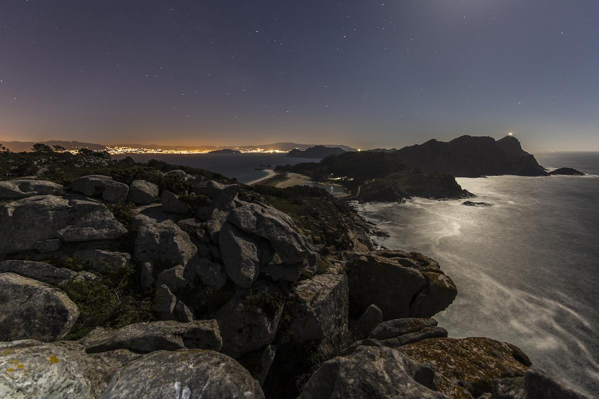 Las islas Cíes de noche. Foto: Shutterstock
