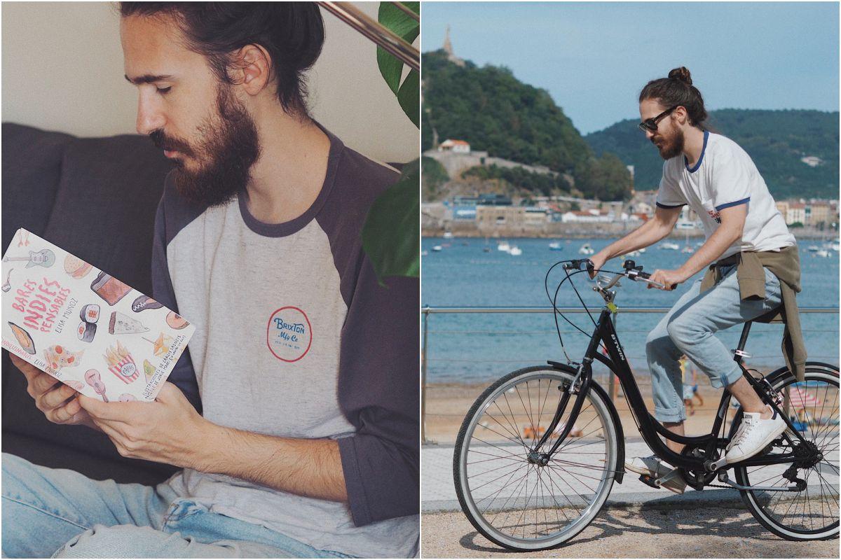Con su libro y paseando en bici por Donosti. Fotos: Instagram