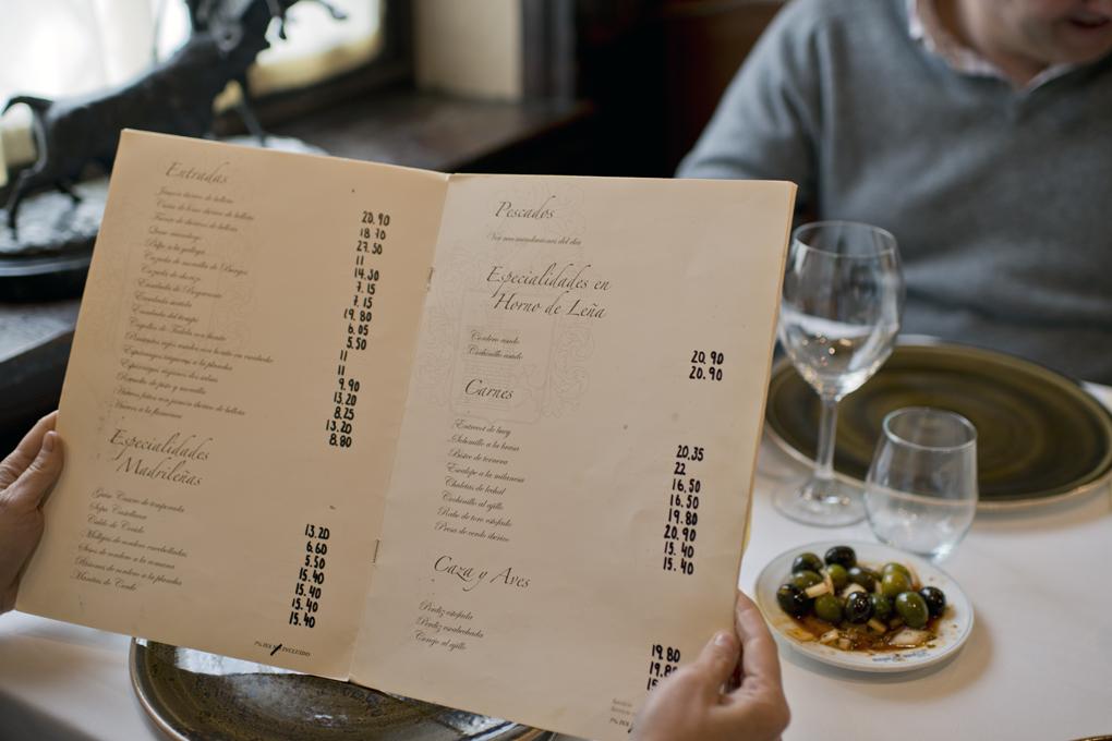 Carta de menú de Casa Pedro