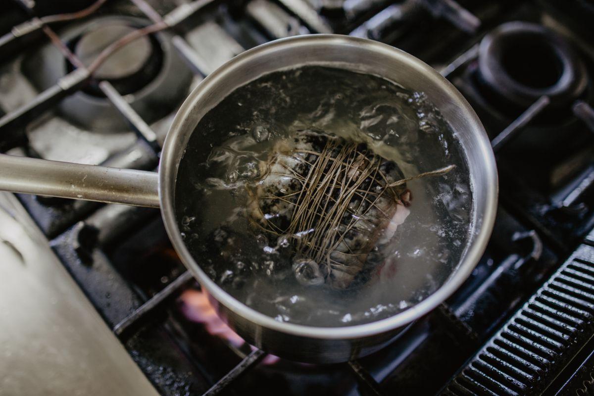 Escaldando la lamprea. Foto: Nuria Sambade