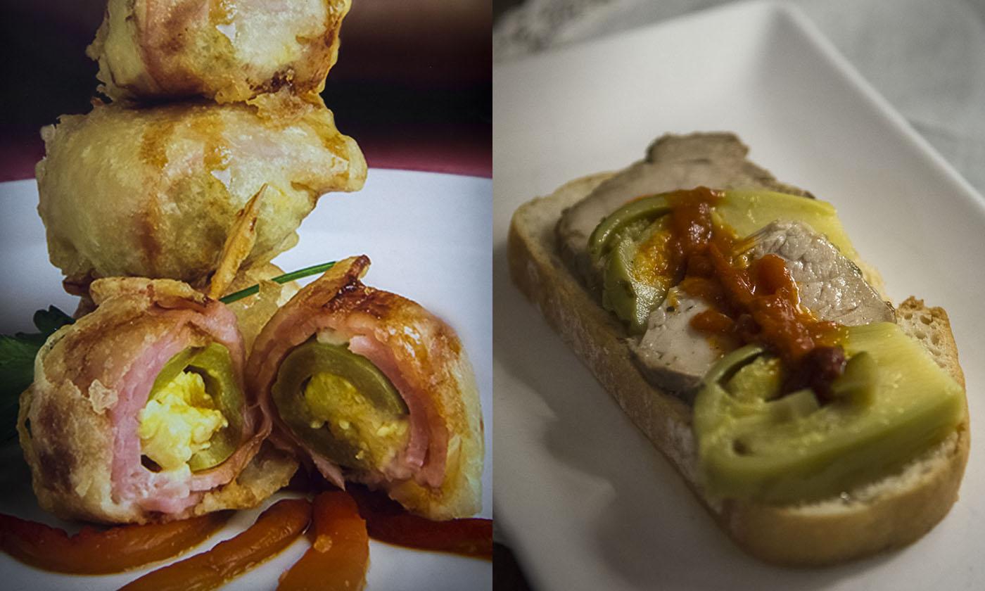 'Deseos carnosos' y camada de jamón ibérico en escabeche y láminas de berenjenas de Almagro. Fotos: Manuel Ruiz Toribio