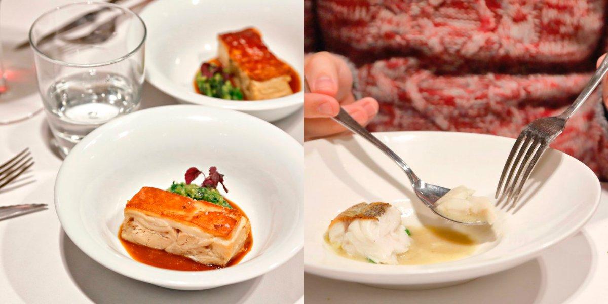 Restaurante El Clarete (Vitoria). Collage cochinillo glaseado y frito y merluza con pil-pil de hongos. Foto: Roberto Ranero