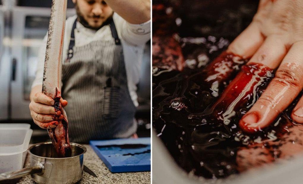 Collage del jefe de cocina Michele Peroni, del restaurante Alborada, desangrando la lamprea, en A Coruña. Foto: Nuria Sambade