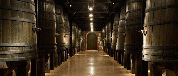Sala de barricas de vino tinto