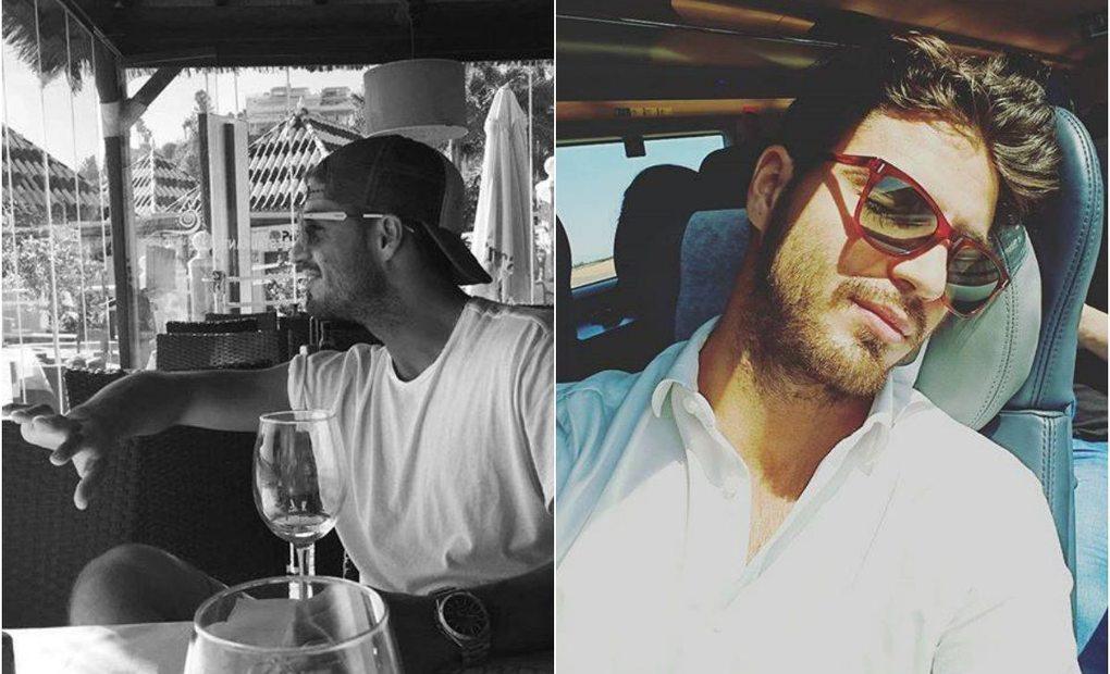El actor Maxi Iglesias en una terraza de Madrid y en el ave. Fotos: Facebook