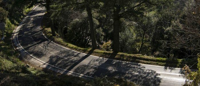 Un tramo de las carreteras que encontramos cruzando el Montseny