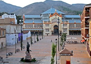Plaza Joaquín Costa y Mercado Nuevo al fondo. / Cedida por: Ayuntamiento de La Unión.